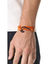 Miansai - Orange Enamel Hooked Leather Wrap Bracelet for Men - Lyst