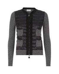 Moncler - Gray Quilted Ruffle Cardigan - Lyst