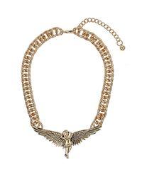 TOPSHOP - Metallic Gold Cherub Necklace - Lyst