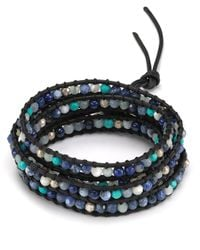 Chan Luu - Five Wrap Blue Mix Leather Bracelet - Lyst