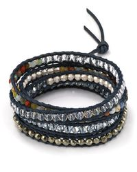 Chan Luu | Black Five Wrap Leather Bracelet with Silver Nuggets | Lyst