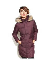 DKNY - Red Hooded Faux Fur Trim Quilted Long Length Puffer - Lyst
