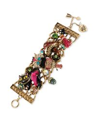 Betsey Johnson - Multicolor Antique Gold Tone Owl Multi Charm Wide Toggle Bracelet - Lyst