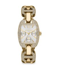 Michael Kors | Gold Rectangular Crystalaccented Stainless Steel Chronograph Bracelet Watch | Lyst