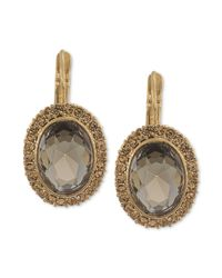 Carolee | Metallic Oval Stone Drop Earrings | Lyst