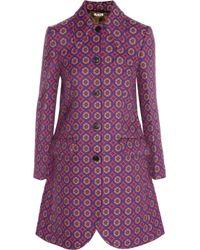 Miu Miu   Purple Jacquard Woven Coat   Lyst
