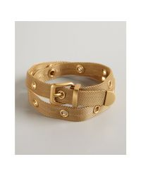 Bottega Veneta - Metallic Gold Metal Wrapped Belt Bracelet - Lyst