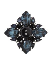 Erdem - Blue Rutheniumplated Swarovski Crystal Brooch - Lyst