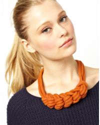 ASOS - Orange Just Acces Rope Cord Necklace - Lyst