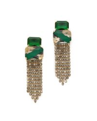Noir Jewelry - Green Crystal Fringe Drop Earrings - Lyst
