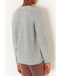 TOPSHOP - Gray Knitted Mix Stitch Jumper - Lyst