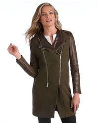 BCBGMAXAZRIA | Green Double Zip Leather Sleeve Coat | Lyst