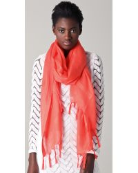 Love Quotes | Pink Knotted Tassel Linen Scarf | Lyst
