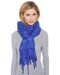 Love Quotes | Blue Knotted Tassel Linen Scarf - Maliblu | Lyst