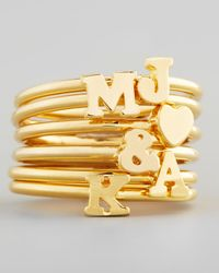 Sarah Chloe - Metallic Gold Stackable Initial Ring - Lyst