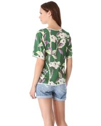 Tucker - Green Boxy Silk Top - Lyst