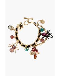 Betsey Johnson | Multicolor Gold-tone Sea Creature Multi-charm Imitation Pearl Bracelet | Lyst