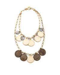 Fallon - Metallic Coin Bib Necklace - Lyst