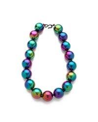 Kenneth Jay Lane - Blue Rainbow Beads Necklace - Lyst
