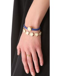 Marc By Marc Jacobs - Blue Skinny Engraved Turnlock Leather Bracelet - Lyst