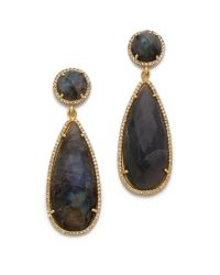 One By - Black Crown Stone Drop Earrings - Lyst