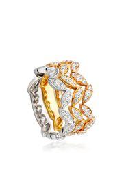 Astley Clarke   Metallic Falling Leaf Ring Stack   Lyst