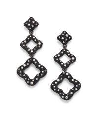 David Yurman | Black Diamond Sterling Silver Drop Earrings | Lyst