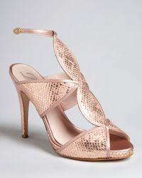 Delman | Metallic Peep Toe Platform Evening Sandals Suave High Heel | Lyst