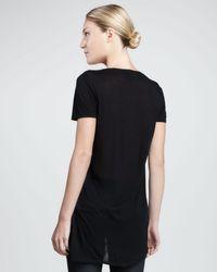 DKNY   Black Sequinedfront Asymmetric Tee   Lyst