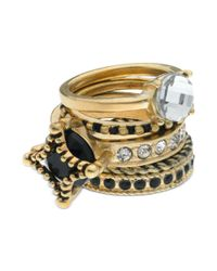 Guess | Metallic Jet Stone and Crystal Rings | Lyst