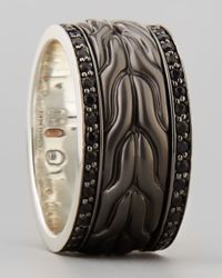 John Hardy | Men's Black Bronze Sapphire Ring for Men | Lyst