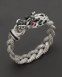 John Hardy | Metallic Batu Naga Silver Dragon Head Bracelet On Medium Braided Chain With African Ruby And Black Sapphire | Lyst