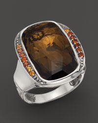 John Hardy - Brown Batu Bamboo Silver Large Octagon Ring With Honey Quartz & Dark Citrine - Lyst