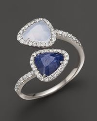 Meira T | 14k White Gold Chalcedony, Blue Sapphire And Diamond Ring | Lyst