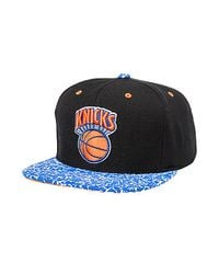 5d7b556d38e Mitchell   Ness. Men s Blue The New York Knicks Hardwood Classic in The  Stands Snapback Cap
