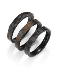 Nest | Black Rough Horn Three-bangle Bracelet Set | Lyst