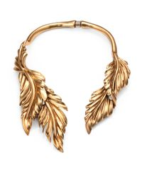 Oscar de la Renta | Metallic Fluted Leaf Necklace | Lyst