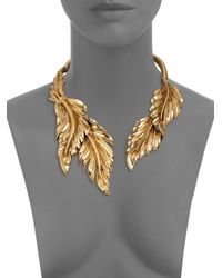 Oscar de la Renta - Metallic Fluted Leaf Necklace - Lyst