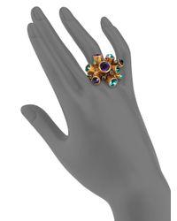 Oscar de la Renta - Metallic Crystal Cluster Ring - Lyst