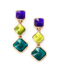 Oscar de la Renta - Yellow Faceted Clipon Triple Drop Earrings - Lyst