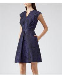 Reiss - Blue Evie Nipped Waist Jacquard Dress - Lyst