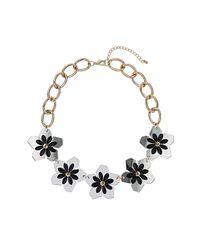 TOPSHOP - White Spike Flower Collar - Lyst