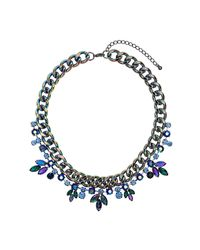 TOPSHOP - Blue Premium Rhinestone Flower and Chain Collar Necklace - Lyst