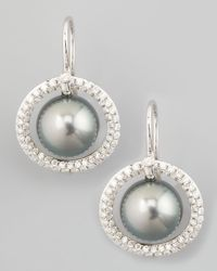 Eli Jewels | Green Gray South Sea Pearl & Diamond Halo Earrings | Lyst