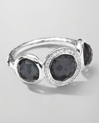 Ippolita - Black Stella 3-Doublet Ring In Hematite & Diamonds - Lyst