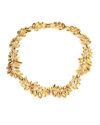 Kenneth Jay Lane | Metallic Faceted Leaf Necklace | Lyst