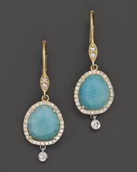 Meira T - Blue Diamond Amazonite Drop Earrings in 14k Yellow Gold - Lyst