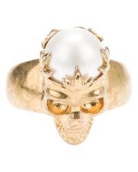 Alexander McQueen   White Skull Pearl Ring   Lyst