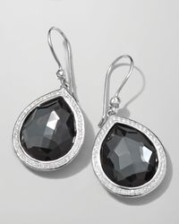 Ippolita | Black Stella Teardrop Earrings In Hematite & Diamonds | Lyst