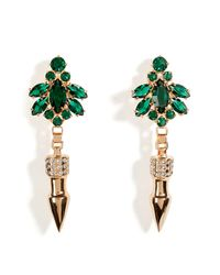 Mawi - Pink Rose Goldplated Crystal Nymph Earrings with Pave Spikes - Lyst